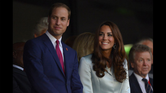 Prince William and Catherine, Duchess of Cambridge, at the start of the London 2012 Olympics opening ceremony.