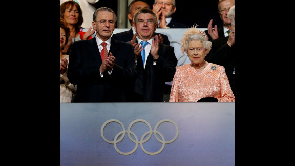 Queen Elizabeth II, right, and Jacques Rogge, president of the International Olympic Committee, attend the ceremony.