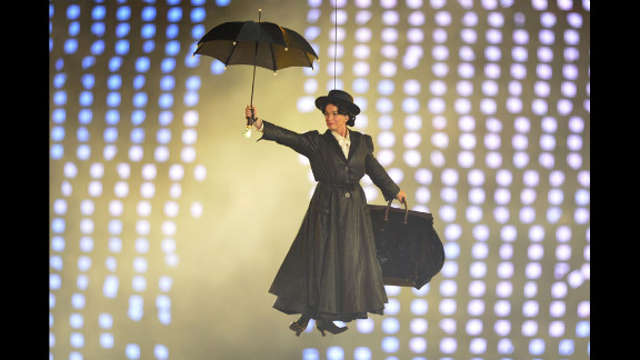 An actor dressed as Mary Poppins performs in the GOSH and NHS scene.