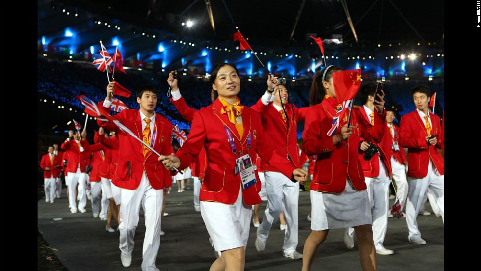 Chinese athletes enter the stadium.