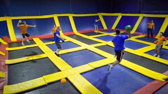 Visitors to Sky High Sports can also use the trampoline courts to play dodgeball.