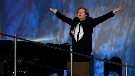 """Paul McCartney closes the opening ceremony of the London 2012 Olympic Games with a well-received rendition of """"Hey Jude""""."""