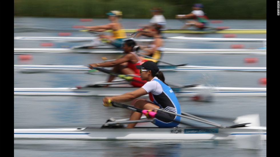 Yeji Kim of South Korea competes in a women's single sculls heat at Eton Dorney near Windsor, England.