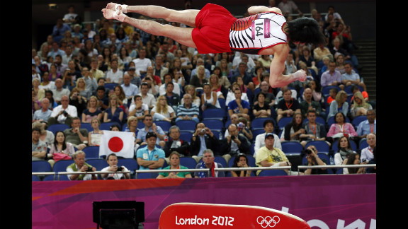 Japanese gymnast Kohei Uchimura competes during the men's artistic gymnastics qualification event on the first day of the London 2012 Olympic Games.