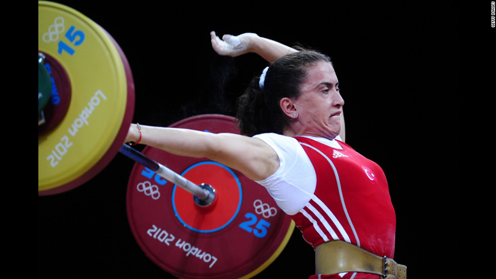Turkey's Nurdan Karagoz is competing in women's weightlifting.