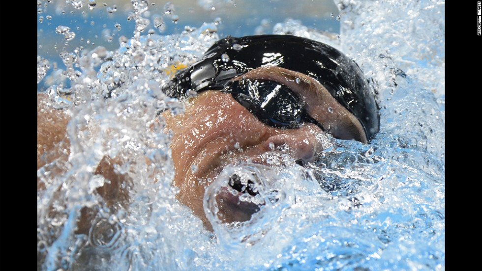 "U.S. swimmer Ryan Lochte competes in the men's 400-meter individual medley final. ""I know it's my time and I'm ready,"" said Lochte."