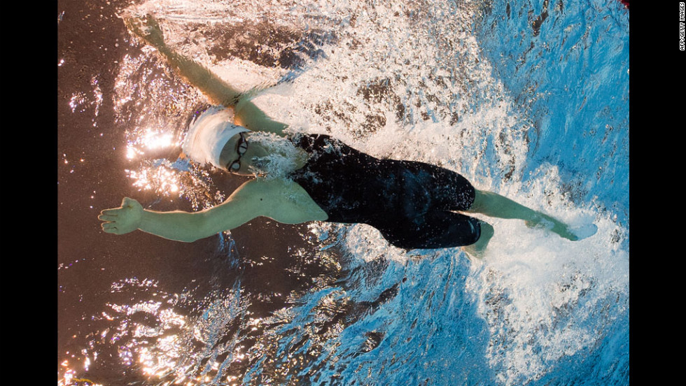 Camille Muffat of France competes in the women's 400-meter freestyle heat.