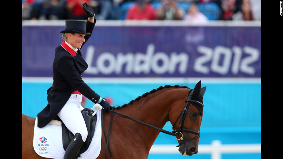 Great Britain's Zara Phillips competes with her horse High Kingdom during the Dressage Equestrian eventon.