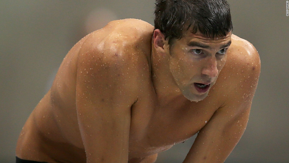 Phelps looks on during the 4x100 freestyle in London.