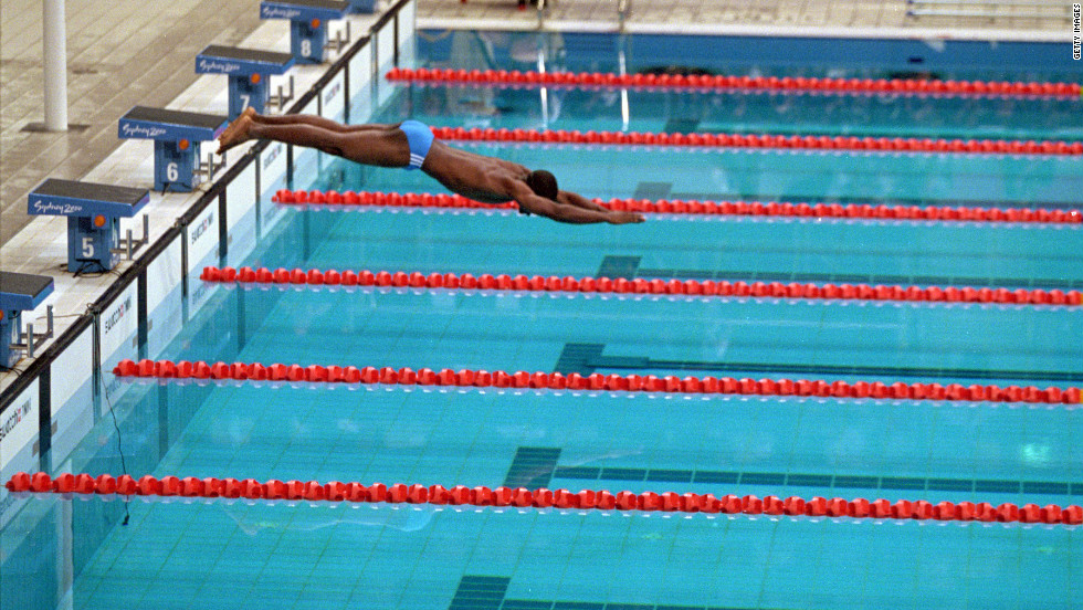 His two opponents in the heat were disqualified for false starts. Moussambani, who had learned his technique from the American swim team in the two days before the race, set off on his own as the crowd cheered.