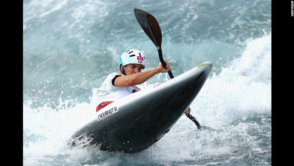 Maialen Chourraut of Spain competes in the women's canoe slalom heats on Monday.