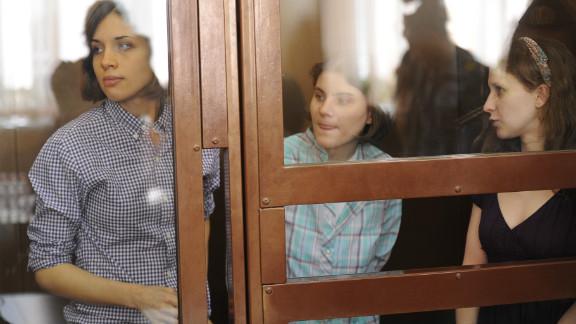 From left: Band members Nadezhda Tolokonnikova, Maria Alyokhina and Yekaterina Samutsevich appear in court Monday.