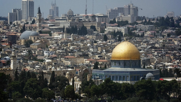 A picture shows the skyline of Jerusalem with the Dome of the Rock mosque, at the Al-Aqsa mosque compound in the city
