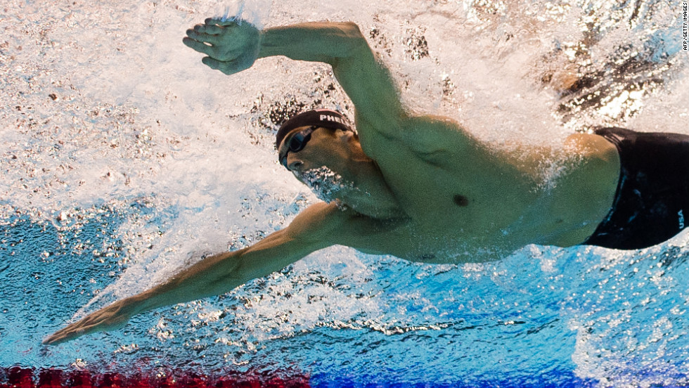 A picture taken with an underwater camera of U.S. swimmer Michael Phelps as he competes in the men's 200-meter butterfly semifinal swimming event.