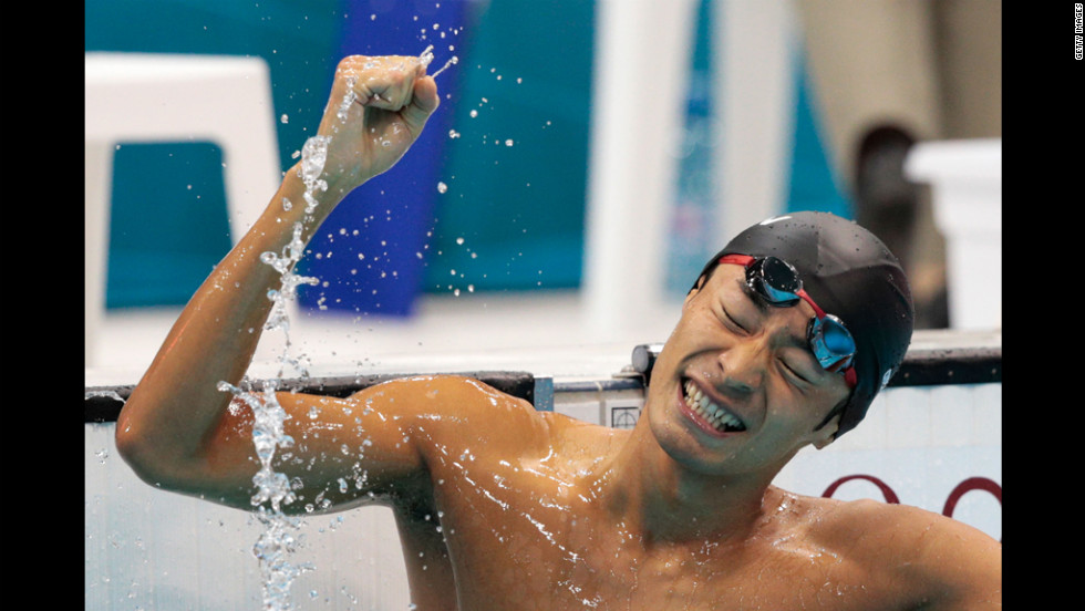 Ryosuke Irie of Japan celebrates after winning the bronze medal in the final of the men's 100-meter backstroke.