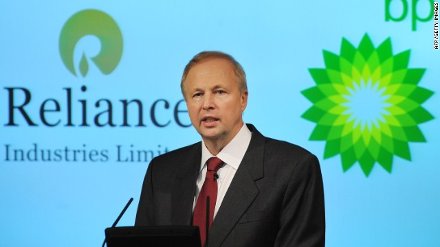 BP Chief Executive Bob Dudley addresses a press conference with Mukesh Ambani, (not pictured) Chairman and Managing Director of Reliance Industries Limited, in central London on February 21, 2011. British energy giant BP said Monday that it will pay $7.2 billion (5.3 billion euros) to Mumbai-based Reliance Industries for a 30-percent stake in 23 Indian oil and gas blocks. AFP PHOTO/BEN STANSALL (Photo credit should read BEN STANSALL/AFP/Getty Images)