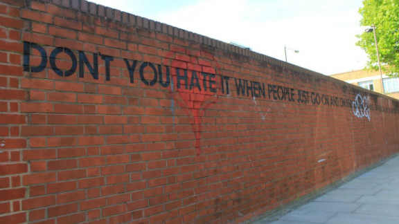 """Mobstr works with stencilled letters. This piece in Hackney Wick, now removed, featured a sentence that curved around a wall reading: """"Don"""