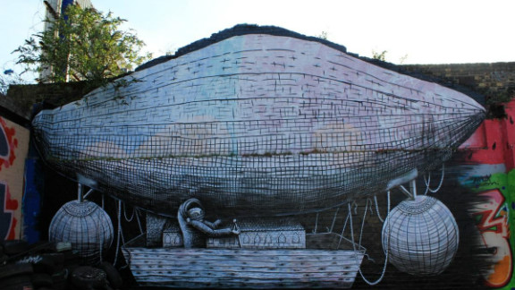 """Phlegm is described by Richard Howard-Griffin as """"one of the most exciting artists on the global street art scene at present, let alone London."""" Not all of his works in Hackney Wick survive."""