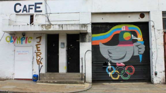 Areas of Shoreditch, Brick Lane, Hackney Road, Broadway Market and Dalston feature work from artists from all over the world - including a few Olympics-inspired pieces. Here is a work by Ronzo.