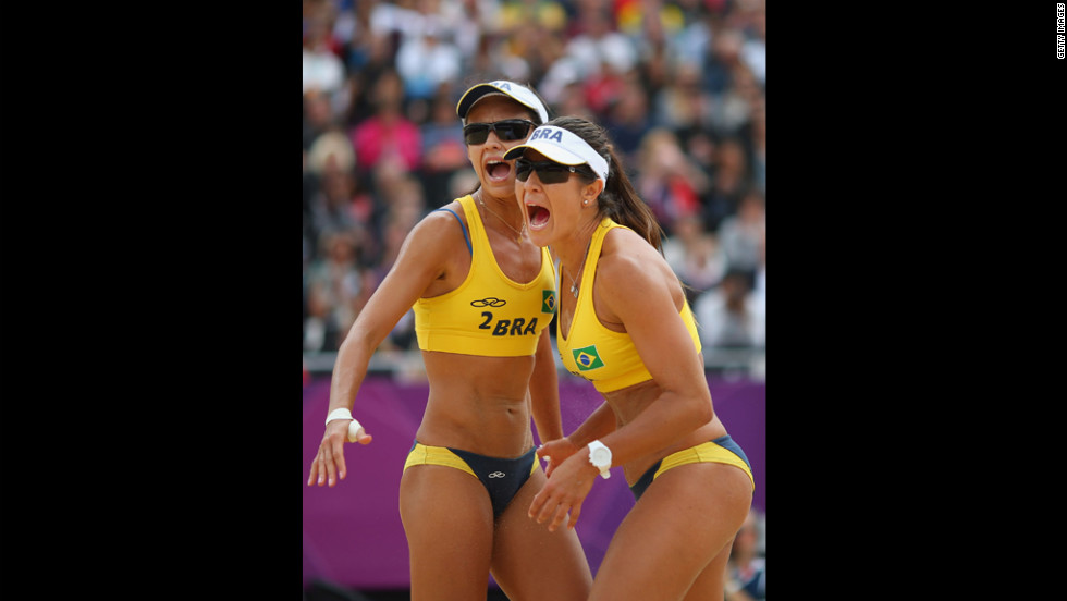 Talita Rocha and Maria Antonelli of Brazil react during the women's beach volleyball preliminary match between Brazil and Germany on Tuesday.