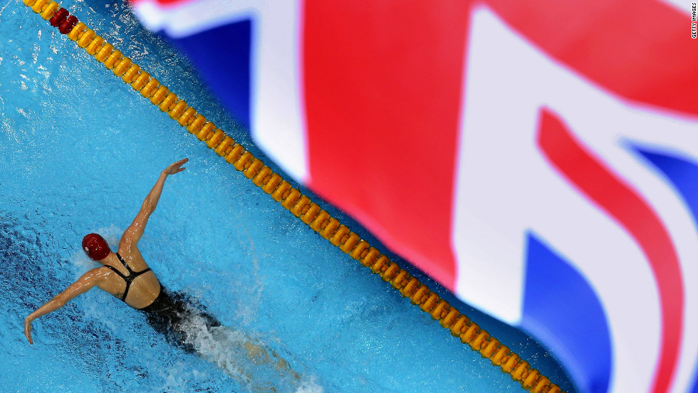 Jemma Lowe of Great Britain competes in the women's 200-meter butterfly semifinal.