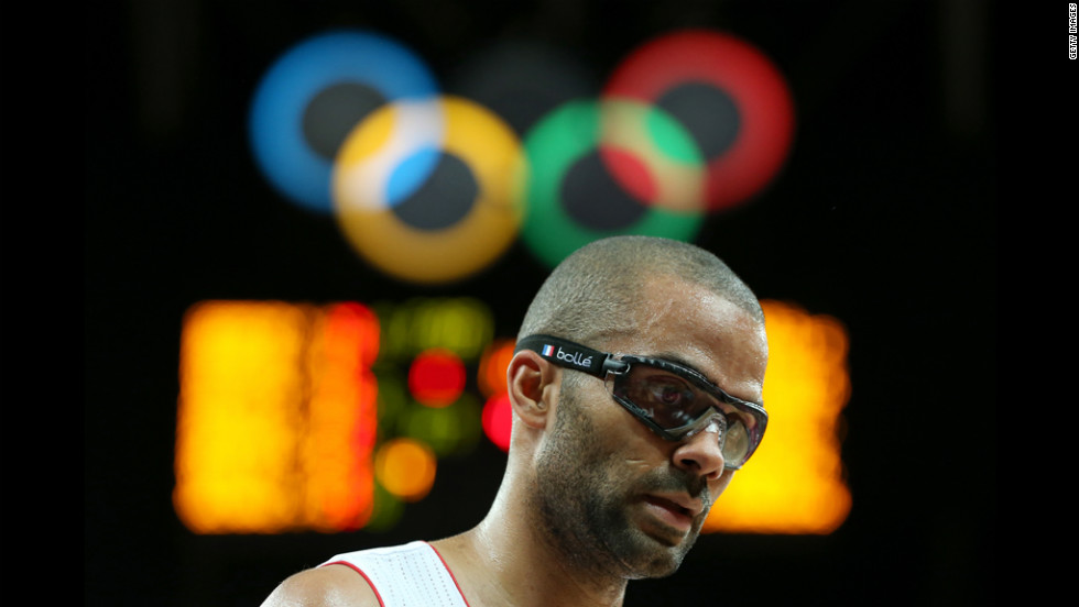 Tony Parker of France looks on in the men's basketball preliminary match against  Argentina.