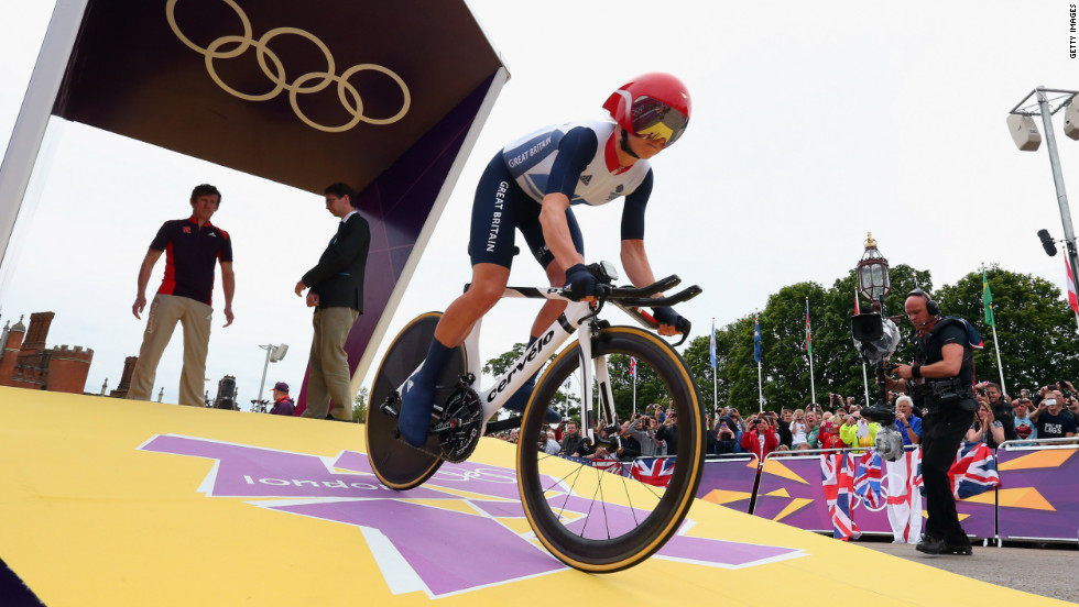 Emma Pooley of Great Britain is in action during the time trial for women's individual road cycling.