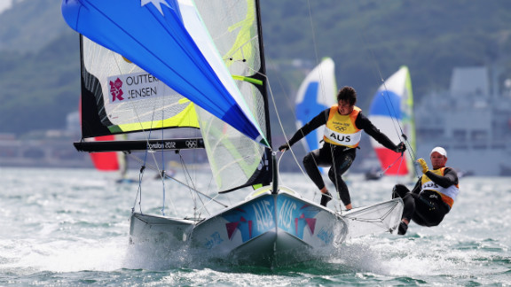 Nathan Outteridge, right, and Iain Jensen of Australia compete in the men