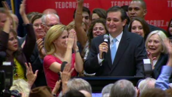 Ted Cruz celebrates his victory in U.S. Senate race in Texas.