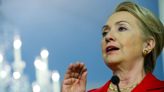 U.S. Secretary of State Hillary Clinton, pictured here on July 24, 2012, sets off Tuesday on an 11-day trip.