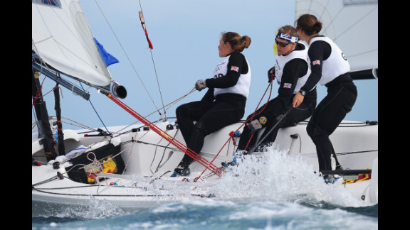 Kate Macgregor, left, Annie Lush and Lucy Macgregor of Great Britain compete in the Women