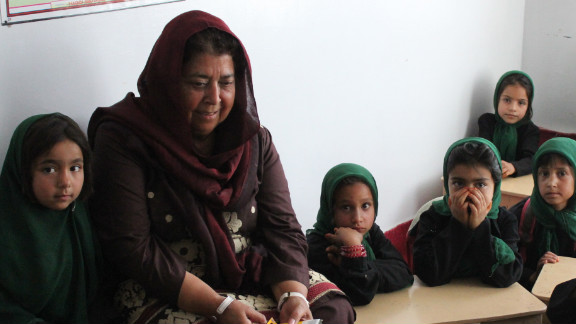 Razia Jan with some of her students.