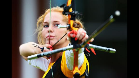 Lidiia Sichenikova of Ukraine competes in the women