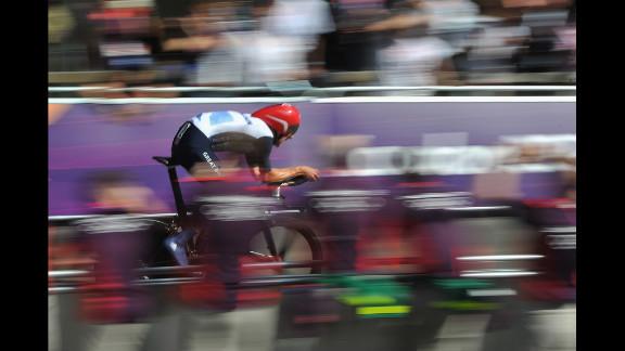 Bradley Wiggins of Britain competes in men