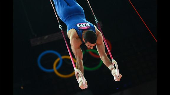 U.S. gymnast Danell Leyva performs on the rings during the nen