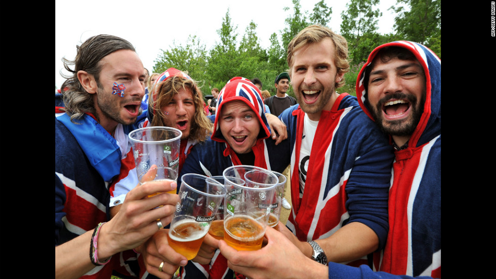 Having just won the Olympic beer-drinking medal, participants await the arrival of the Swedish bikini team.