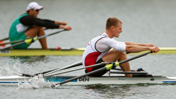 Henrik Stephansen of Denmark rows in the men