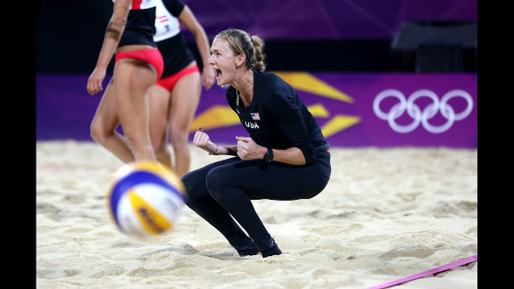 American Kerri Walsh reacts after a point during women