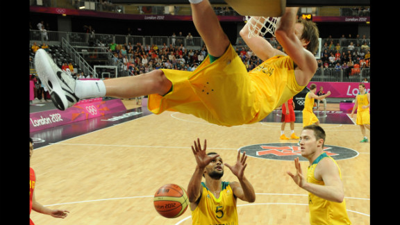 Australian forward Joe Ingles jumps to score during the men