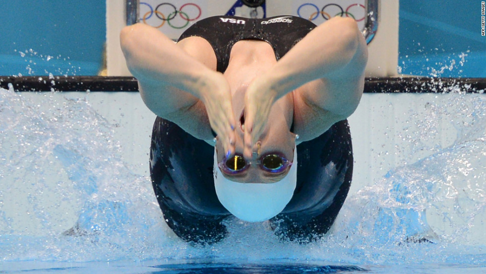 U.S. swimmer Missy Franklin competes in the women's 200-meter backstroke heat.
