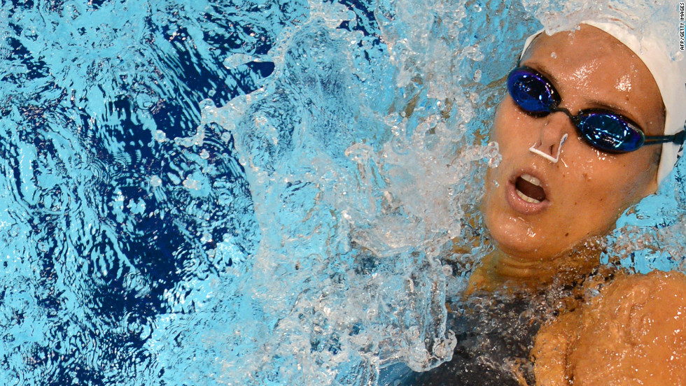 France's Laure Manaudou competes in the women's 200-meter backstroke heat.