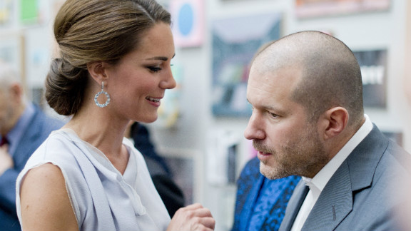Apple design chief Jonathan Ive chats with Kate Middleton at a business event in London on July 30.