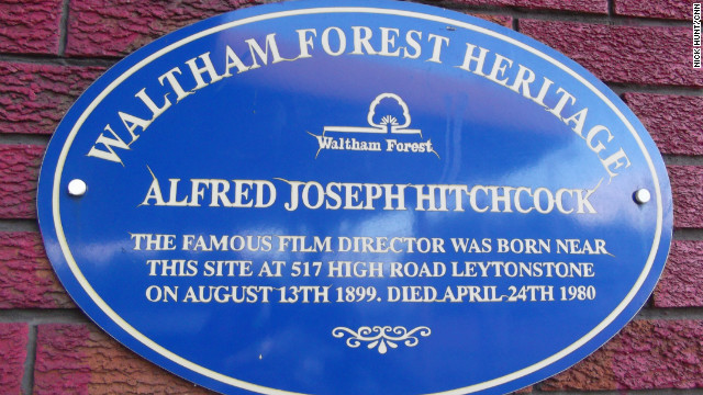 A blue plaque marks the site of Hitchcock's birthplace and childhood home.