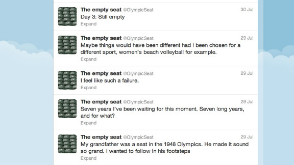 """This Twitter account spoofs the swaths of empty VIP seats that have been seen at Olympics venues in London. @OlympicSeat threatened to quit tweeting Friday, hours after a spectator finally relieved them from their empty existence. """"SOMEONE SAT DOWN! They actually sat down on little old me!"""" Followers: 21,010"""