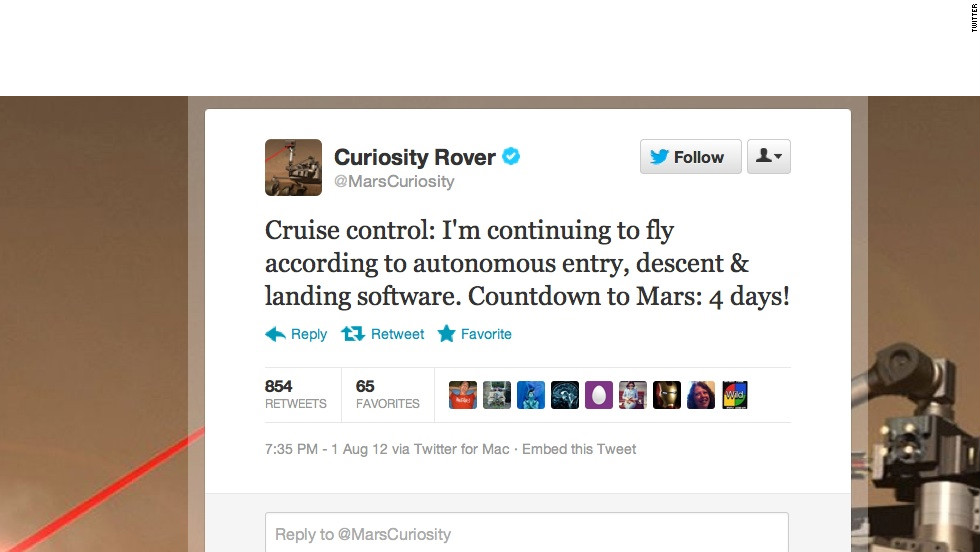 "Some government agencies really do Twitter right. When NASA launched its newest Mars rover, Curiosity, its social media department took faithful astro-nuts along for the ride. Twitter waits with bated breath for first-person accounts of <a href=""https://twitter.com/MarsCuriosity"" target=""_blank"">@MarsCuriosity</a>'s journey and its scheduled  touchdown early Monday on the Red Planet. Followers: 142,205"