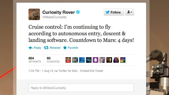 Some government agencies really do Twitter right. When NASA launched its newest Mars rover, Curiosity, its social media department took faithful astro-nuts along for the ride. Twitter waits with bated breath for first-person accounts of @MarsCuriosity's journey and its scheduled  touchdown early Monday on the Red Planet. Followers: 142,205