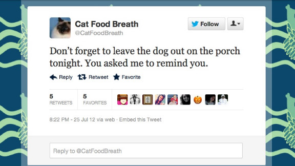 If you're not @CatFoodBreath, you should feel bad about it. This (imaginary) snarky feline has a Burlington, Vermont, woman to thank for sharing its sardonic take on dogs, naps and food with the Twitterverse. Followers: 18,742