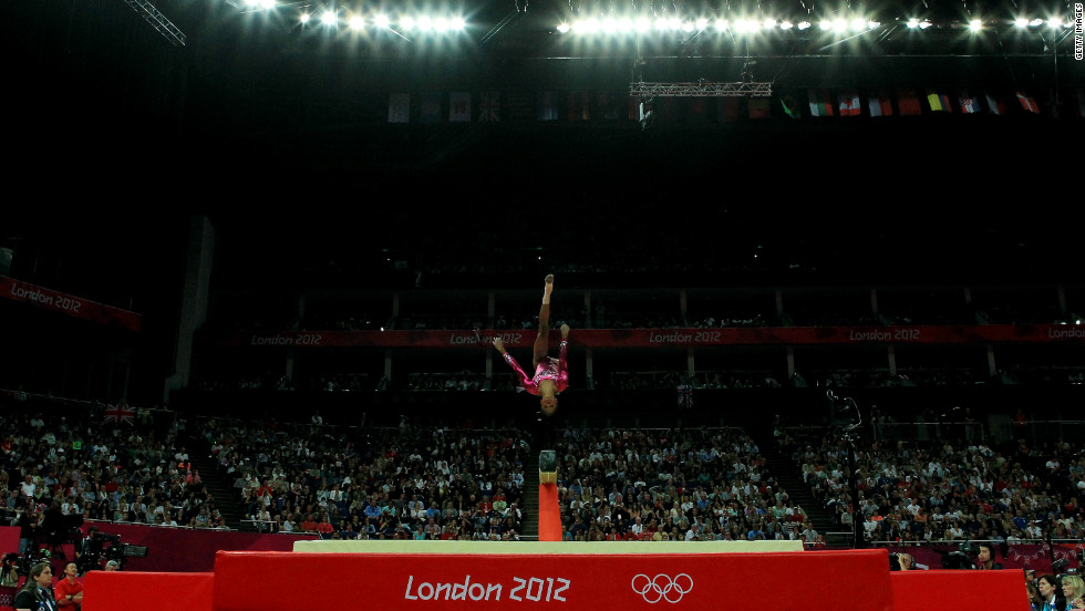 Gymnast Gabby Douglas of the United States competes on the balance beam in the women's individual all-around final on Day 6 of the London 2012 Olympics.