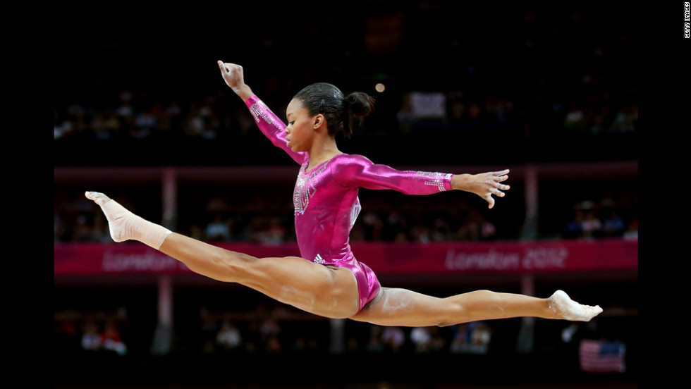 U.S. gymnast Gabby Douglas competes on the balance beam in the women's individual all-around final.