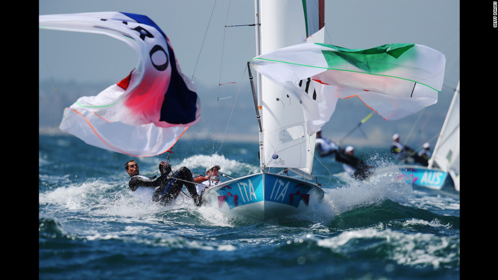 Pietro Zucchetti, left, and Gabrio Zandona of Italy compete in the men's 470 sailing in Weymouth, England.